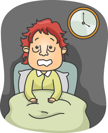 restless: Illustration of a Man with Puffy Eyebags Sitting on His Bed Wide Awake