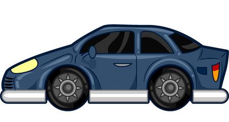 スタイリッシュな青い車をフィーチャーしたイラスト 写真素材