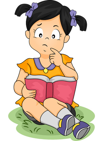 engrossed: Illustration of an Asian Girl Thinking About Something While Reading a Book Stock Photo