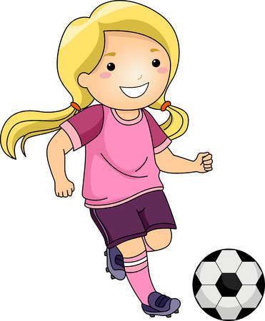 futbol soccer dibujos: Ilustración de una pequeña muchacha que golpea un balón de fútbol Foto de archivo