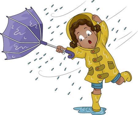 is raining: Illustration of a Little Girl Holding an Umbrella Upturned by Poweful Winds Stock Photo