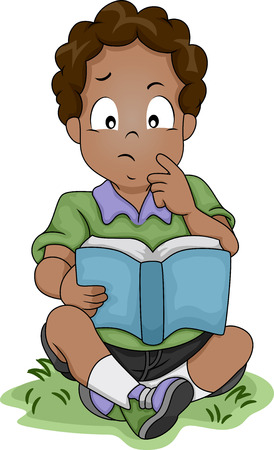 engrossed: Illustration of a Little African-American Boy Thinking About Something While Reading a Book Stock Photo