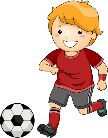 futbol soccer dibujos: Ilustración de un Little Boy en Soccer Gear Acerca de patear un balón de fútbol Foto de archivo