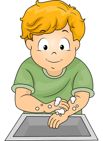 handwash: Illustration of a Little Boy Washing His Hands with Soap
