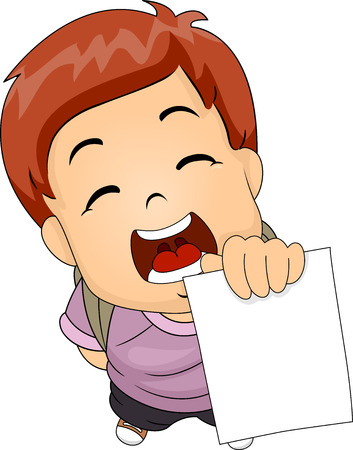 remarkable: Illustration of a Boy Proudly Showing His Test Result