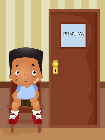 principal: Illustration of a Boy Waiiting for His Turn to be Called in the Principals Office
