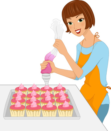 cartoon adult: Illustration of a Girl Applying Icing on Cupcakes Stock Photo