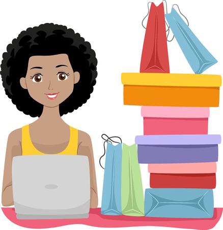 beside: Illustration of a Girl Sitting Beside Shopping Bags Doing Some Shopping Online Stock Photo