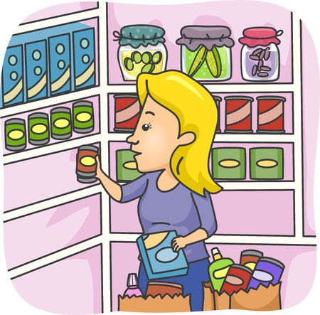 canned goods: Illustration of a Woman Stocking Her Pantry with Goods