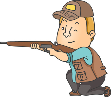 hunters: Illustration of a Man Dressed in Hunting Gear Taking Aim with His Rifle