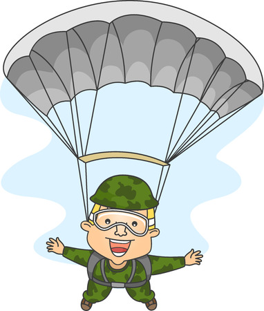 apart: Illustration of a Male Paratrooper with His Arms and Legs Spread Wide Apart Stock Photo