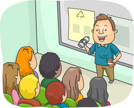 Illustration of a Man Delivering a Lecture on Recycling illustration