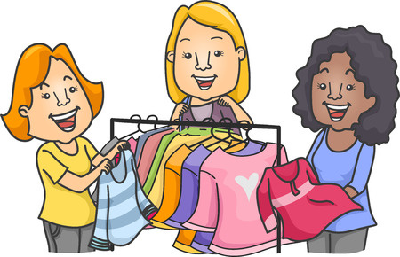 clothing rack: Illustration of Women Standing Near a Clothes Rack Swapping Clothes Stock Photo