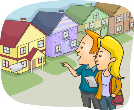 check out: Illustration of a Couple Checking Out Prospective Homes