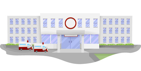 facility: Illustration of a Large Hospital with Ambulances Waiting in the Parking Lot Stock Photo