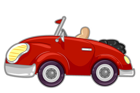 jazzy: Illustration Featuring a Stylish Red Convertible Car