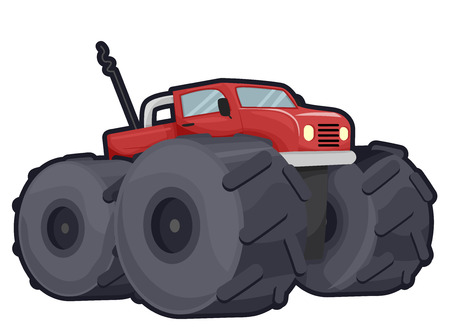 gigantic: Illustration of an Off Road Truck with Gigantic Wheels