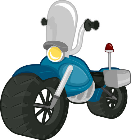 cartoon transportation: Illustration of a Police Motorbike with a Windshield Stock Photo