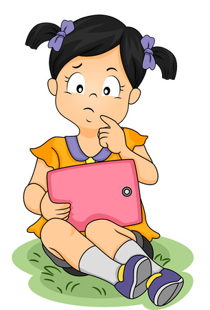 engrossed: Illustration of an Asian Girl Thinking About Something While Holding a Tablet Computer