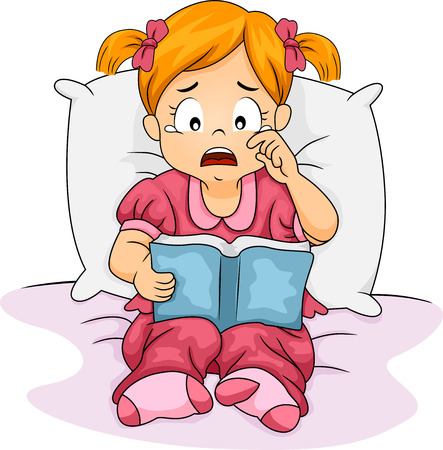 Illustration of a Little Girl Crying Over the Book She is Reading