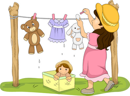 rag: Illustration of a Little Girl Hanging Her Stuffed Toys to Dry Stock Photo
