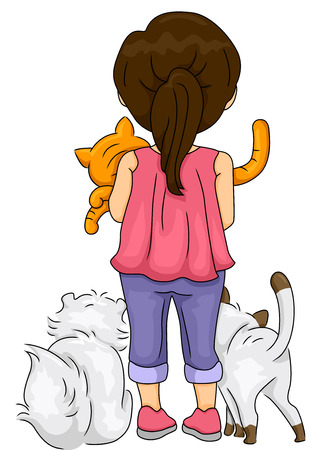cuddly: Rearview Illustration of a Girl Surrounded by Her Pet Cats