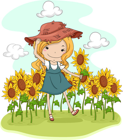 pick: Illustration of a Little Girl Picking Flowers in a Sunflower Field