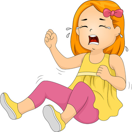 hysterics: Illustration of a Little Girl Throwing a Tantrum