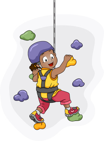 Illustration of a Harness Wearing Little Girl Scaling a Wall illustration