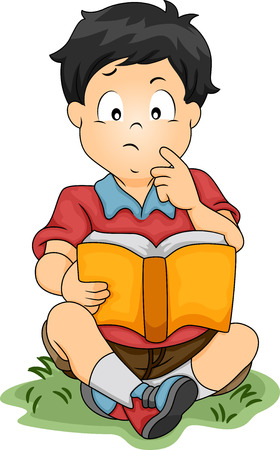 engrossed: Illustration of a Little Asian Boy Thinking About Something While Reading a Book