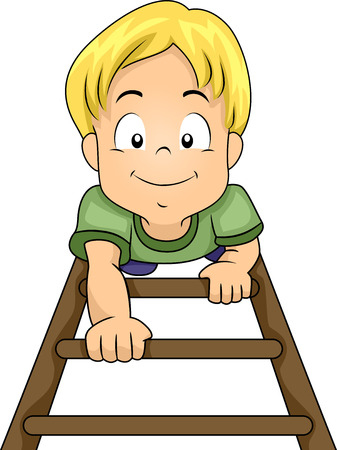 Illustration of a Little Boy Climbing His Way Up a Ladder