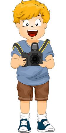 Illustration of a Little Boy Holding a DSLR Camera Stock Photo