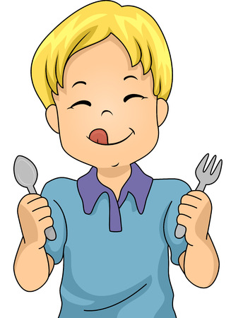 Illustration of a Little Boy Holding a Spoon and Fork Eagerly Awaiting Dinner Stock Photo