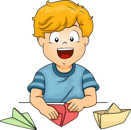paper folding: Illustration of a Little Kid Folding Pieces of Paper into Different Shapes