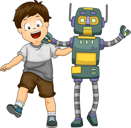 Illustration of a Little Kid Hanging Around with a Lifesize Robot