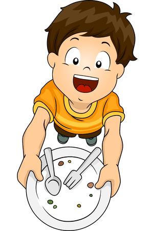 Illustratie van een jongen Overhandigen Zijn leeg bord en Asking for Seconds