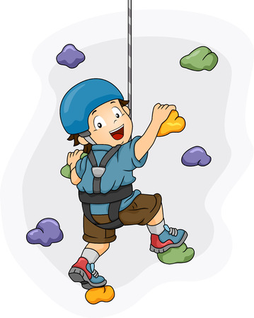 Illustration of a Little Boy Dressed in Wall Climbing Gear Scaling a Wall