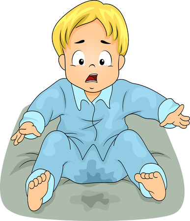 alarmed: Illustration of a Little Boy Shocked to See He Has Wetted His Bed