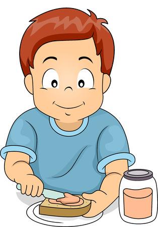 sandwich spread: Illustration of a Little Boy Putting Sandwich Spread on His Sandwich