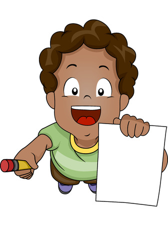 Illustration of an African-American Boy Asking for an Autograph Stock Illustration - 26494582