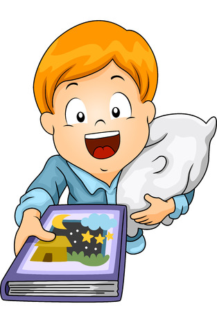 requesting: Illustration of a Little Boy Requesting to be Read a Bedtime Story Stock Photo