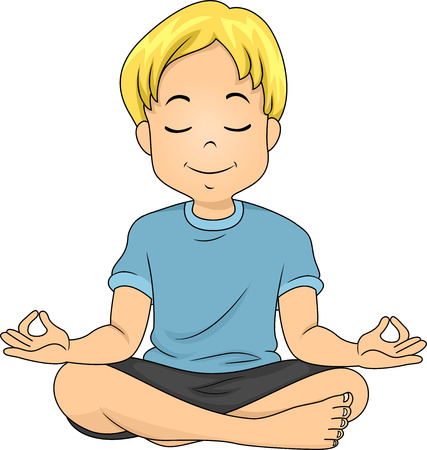 Illustration of a Boy in a Meditating Position illustration