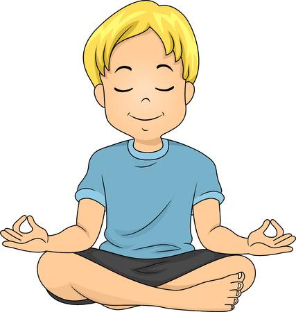 Illustration of a Boy in a Meditating Position