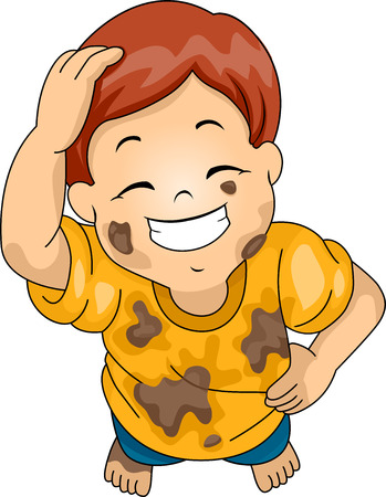 scratching: Illustration of a Boy Wearing Muddy Clothes Grinning While Scratching His Head