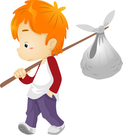 roaming: Illustration of a Runaway Boy Carrying a Bindle