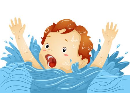 ahogarse: Ilustración de un ahogamiento Boy agitando las manos frenéticamente mientras gritaba por ayuda