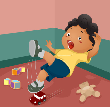 slips: Illustration of a Boy Slipping After Stepping on a Toy Stock Photo