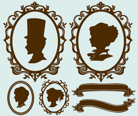 Illustration Featuring Different Cameo Designs for Family Members illustration