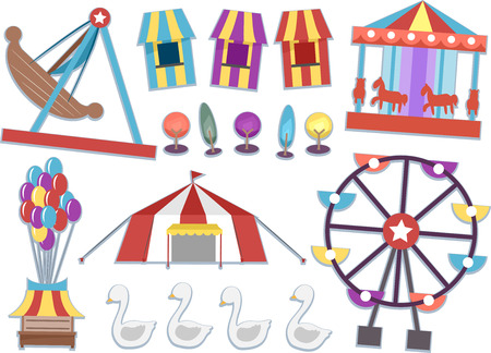 rides: Illustration Featuring Different Rides Commonly Found in Carnivals