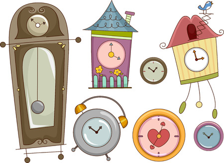cuckoo: Illustration Featuring Colorful Clocks with Different Designs